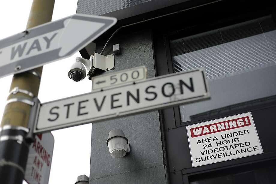 Surveillance cameras are seen on the corner of 6th and Stevenson.   Thursday January 26th, 2012. Photo: Michael Short, SPECIAL TO THE CHRONICLE