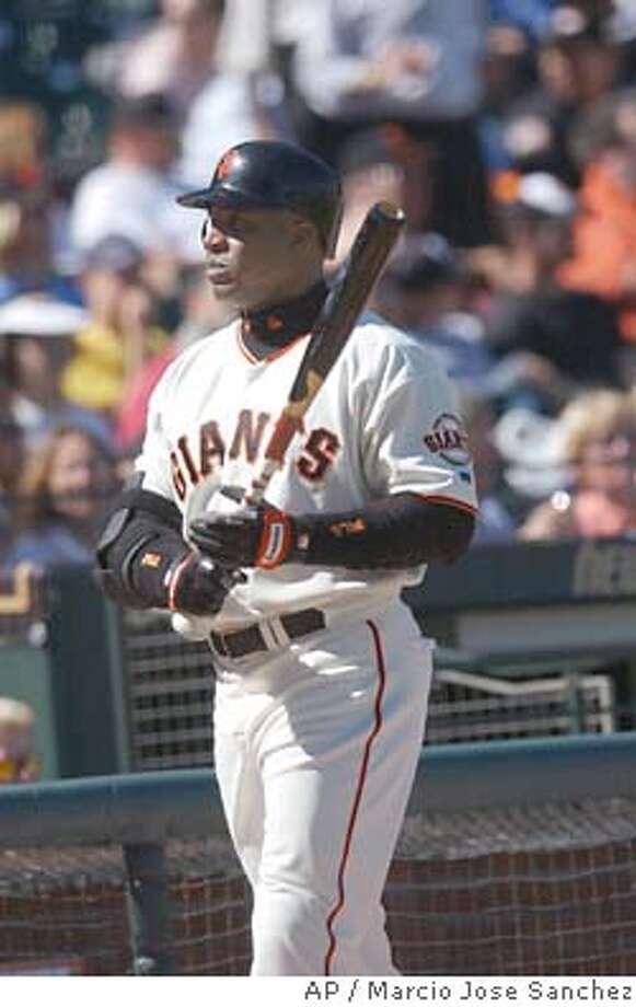 The San Francisco Giants' Barry Bonds warms up before his first at-bat against the Los Angeles Dodgers on Thursday, June 24, 2004, in San Francisco. Sprinter Tim Montgomery testified last year that he used human growth hormone and an undetectable steroid, and that the man at the center of a Bay Area steroid scandal told him he supplied Barry Bonds with performance-enhancing drugs, the San Francisco Chronicle reported. (AP Photo/Marcio Jose Sanchez) Photo: MARCIO JOSE SANCHEZ