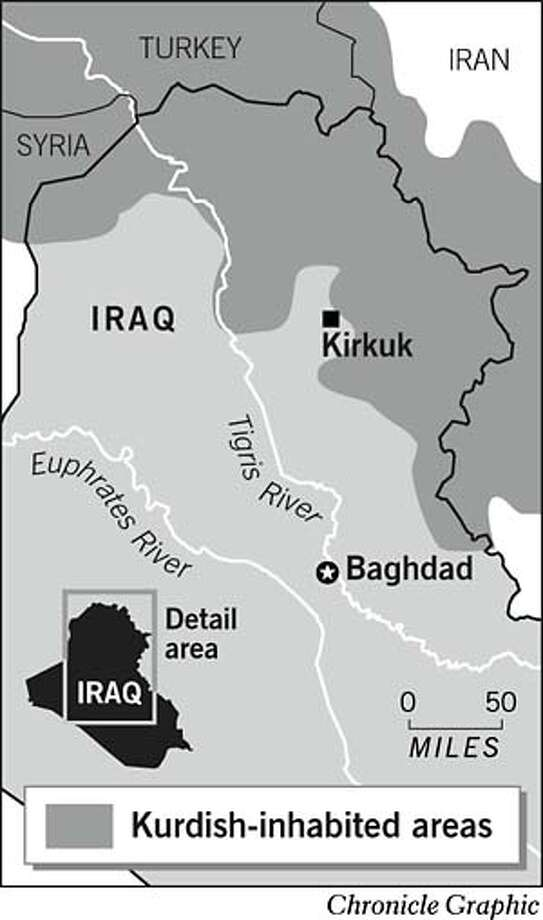 Kurdish-Inhabited Areas. Chronicle Graphic Photo: Chronicle Graphic