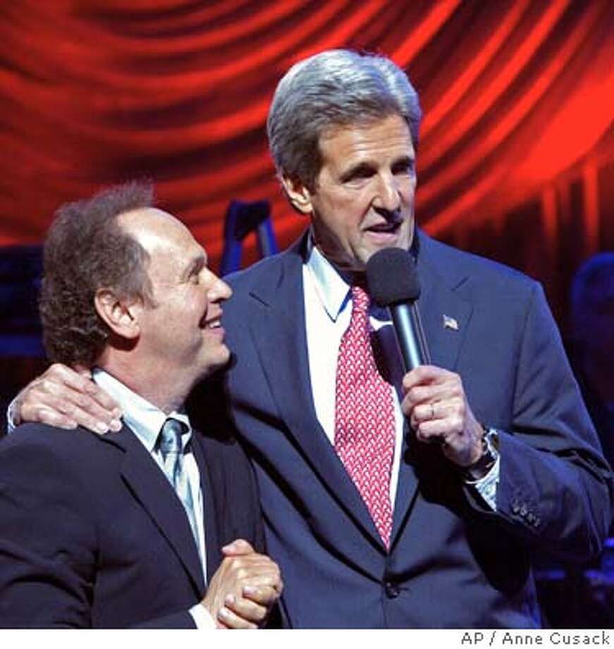 Democratic Presidential candidate John , right, talks with actor Billy Crystal at the Victory 2004 Concert, Thursday night, June 24, 2004, in Los Angeles. (AP Photo/Pool, Los Angeles Times, Anne Cusack) Photo: ANNE CUSACK