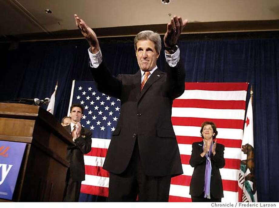; Aida Alverez and Mark Leno introduce President candidate John Kerry who addressed a fund rising breakfast at the St Francis on Union Square in San Francisco. 6/23/04  San Francisco Chronicle Frederic Larson Photo: Frederic Larson