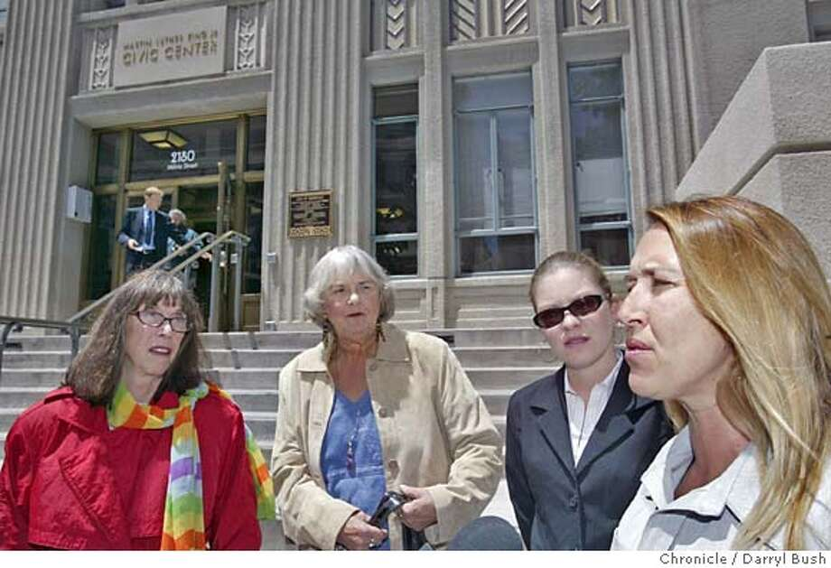 From left, supporter Margot St. James of COYOTE and visiting from Washington state, SWOP supporter Lois Rowan of Berkeley, SWOP supporter Stacey Swimme of Oakland (who campaigned for the initiative), and executive director of SWOP, Robyn Few, of Berkeley as they hold a press conference announcing qualification of a Berkeley initiative to the city ballot that would decriminalize prostitution in Berkeley. SWOP stands for organization Sex Workers Outreach Project USA.  Event on 6/23/04 in Berkeley.  Darryl Bush / The Chronicle Photo: Darryl Bush