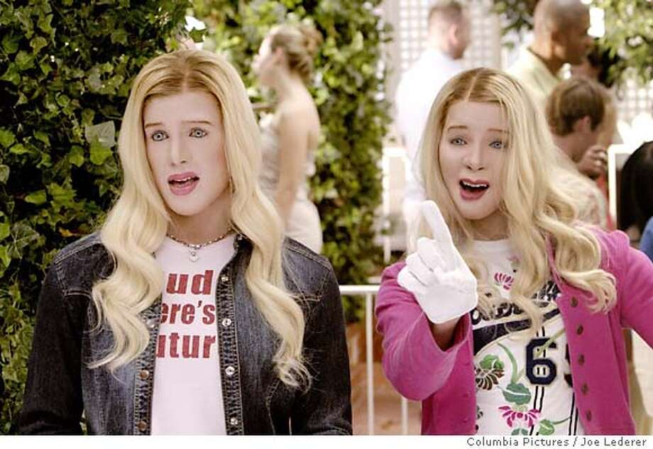 "Kevin Copeland (Shawn Wayans, left) and his brother Marcus (Marlon Wayans) are FBI agents deep undercover as high society debutantes Brittany and Tiffany in Revolution Studios comedy ""White Chicks."" (AP Photo/Joe Lederer) Photo: JOE LEDERER"