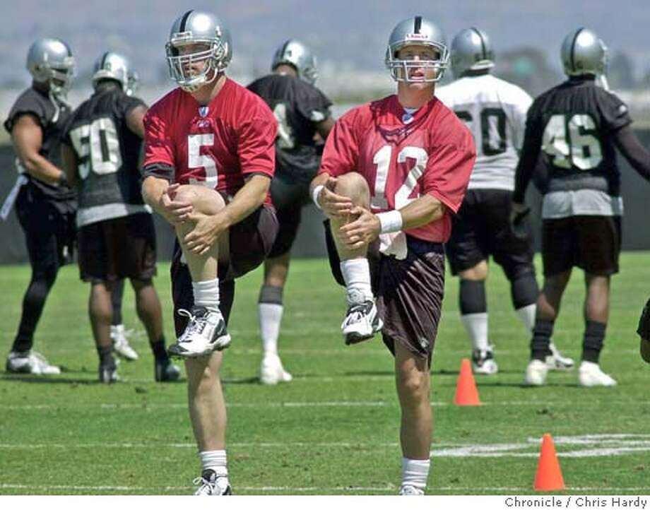 The raiders hold a minicamp for offseason training. In particular, Quarterbacks Kerry Collins(#5)and Rich Gannon(#12) at Alameda,CA on 6/22/04  San Francisco Chronicle/Chris Hardy Photo: Chris Hardy