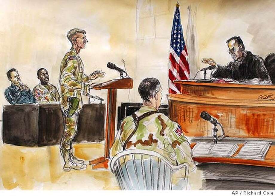 "A sketch by British court artist Richard Cole shows from left, civilian defense counsel Paul Bergrin, Sgt. Javal S. Davis, defense counsel Capt. Scott Dunn, trial counsel Capt. Christopher Graveline, and Judge Col. James Pohl in the courtroom at the Convention Center, located in the heavily guarded ""Green Zone"", in Baghdad, Iraq, Monday, June 21, 2004. Military judge Pohl declared the notorious Abu Ghraib prison a crime scene that cannot be dismantled, as U.S. President George W. Bush had offered. (AP Photo/Richard Cole) Photo: RICHARD COLE"