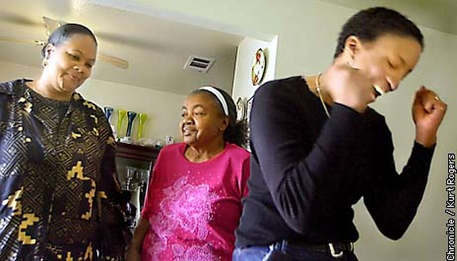 The family of Daphne Boyden 17 when she was murdered and her two week old son Le-Zhan Williams was kidnapped. Celebrated the fact that Le-Zhan was found . Henrietta Williams grandmother ,Riva Lee Boyden Great Grandmother and Jessica Knox God mother. Photo By Kurt Rogers Photo: Kurt Rogers