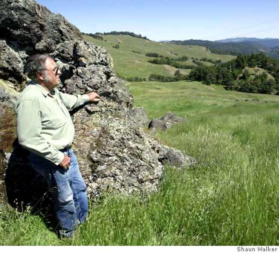 Bob McKee looks out over a 13,000-acre ranch he owns near Garberville, in County about 200 miles north of San Francisco, on May 31, 2004. McKee is being sued by those who say he illegally subdivided and sold parts of the ranch. Photo: Shaun Walker