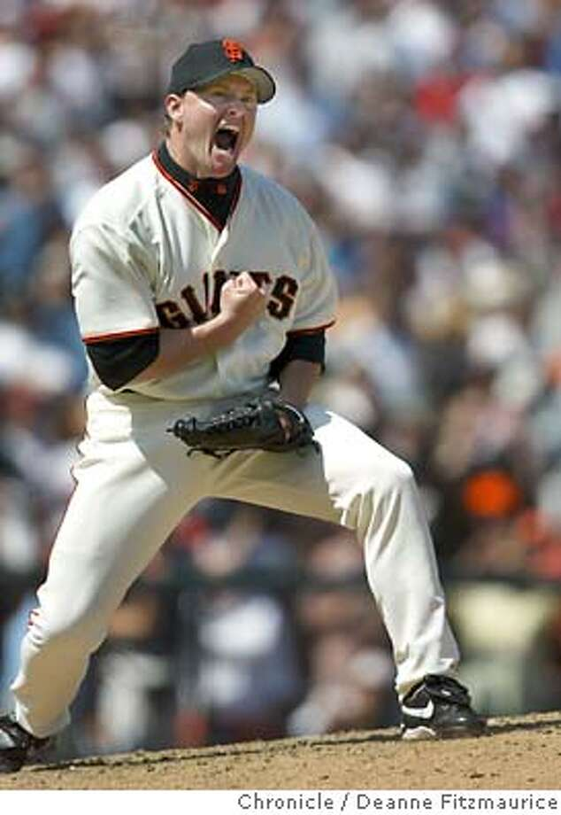 Matt Herges reacts after he strikes out Manny Ramirez to save the game as the San Francisco Giants beat the Boston Red Sox 6-4 at Pacific Bell Park in an interleague game.  Deanne Fitzmaurice/The Chronicle Photo: Deanne Fitzmaurice