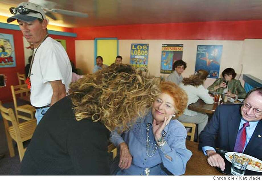 "(L to R) Tom Berryhill, 50,(R) who is running for Assembly District 25, passes Nellie McGarry, 47, (R) candidate for Assembly District 17 while she chats with democrate, Margaret Randolph and Dennis G. Gillen, Phd., ""a registerestered republican but a true independent in the Main Street Cafe in Merced on 5/10/04. Kat Wade/The Chronicle Photo: Kat Wade"