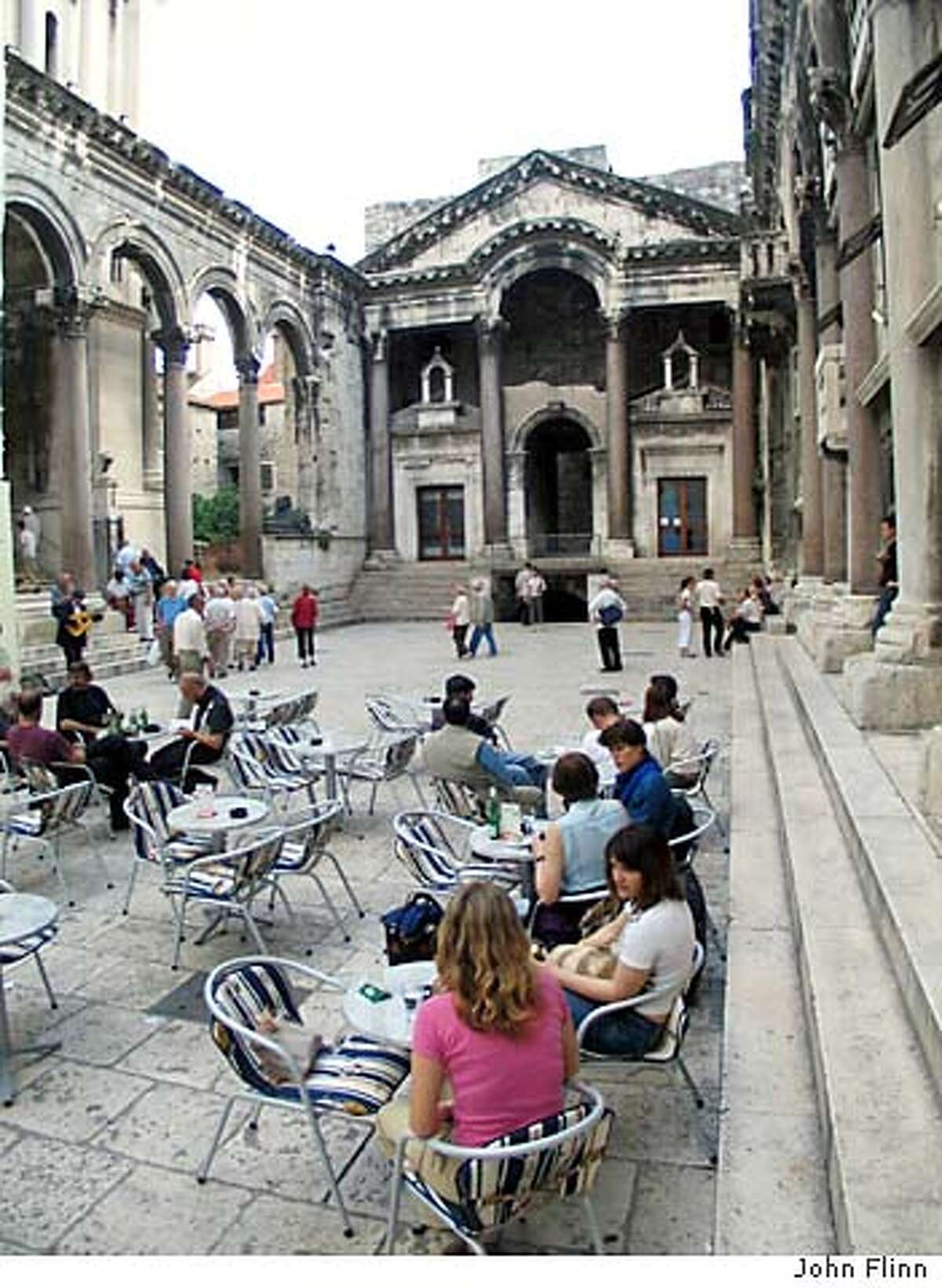 TRAVEL CROATIA -- Cafe in the center of the Roman emporer Diocletian's old palace, which forms the Old Town of Split. Credit: John Flinn