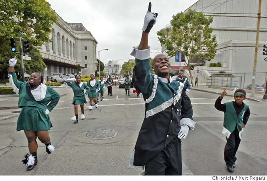 The Mighty High Dreamers drill team from Oakland took part in the Juneteenth parade that went from SF City Hall, thence thru the Western Addition and ending at Kimball Field at Pierce and O'Farrell 6/19/04 in San Francisco,CA.  Kurt Rogers/The Chronicle Photo: Kurt Rogers