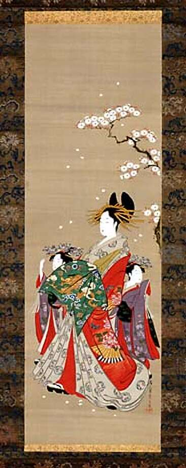 Image AAMGeisha20: Hosoda Eishi (1756�1829), A courtesan and two attendants, 1700�1900, Japan. Hanging scroll, ink and colors on silk. The Avery Brundage Collection, B60D81. From the exhibition Geisha: Beyond the Painted Smile on view at the Asian Art Museum from June 25 to September 26, 2004. This exhibition was developed by the Peabody Essex Museum, Salem Massachusetts. PERMISSION IS GRANTED TO REPRODUCE THIS IMAGE SOLELY IN CONNECTION WITH A REVIEW OR EDITORIAL COMMENTARY ON THE ABOVE-SPECIFIED EXHIBITION. ALL OTHER REPRODUCTIONS ARE STRICTLY PROHIBITED WITHOUT THE PRIOR WRITTEN CONSENT OF THE ARTIST AND/OR MUSEUM.