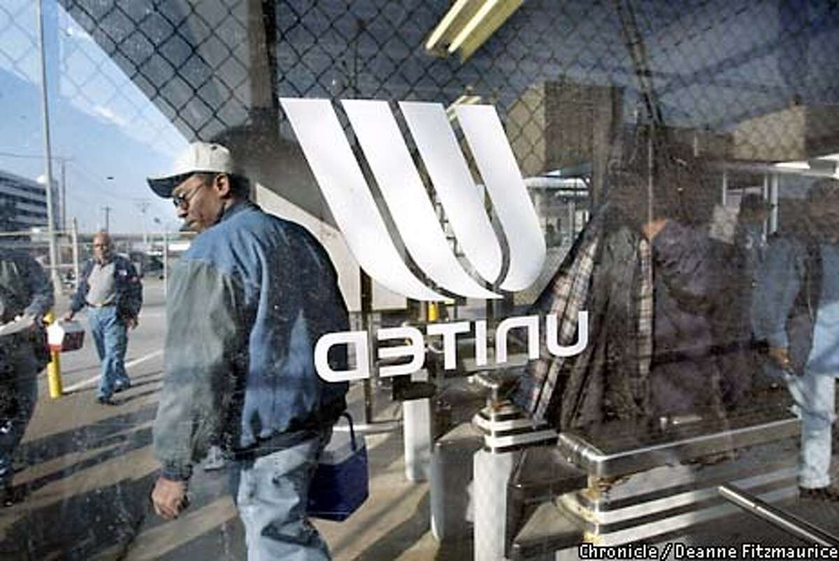 United Airlines mechanics leave the Maintenance Center at SFO at the end of their shift at 2pm today. They face losing their jobs as the federal government today decided not to entend the $1.8 billion loan guarantee which leaves United Airlines that much closer to bankrupcy. CHRONICLE PHOTO BY DEANNE FITZMAURICE