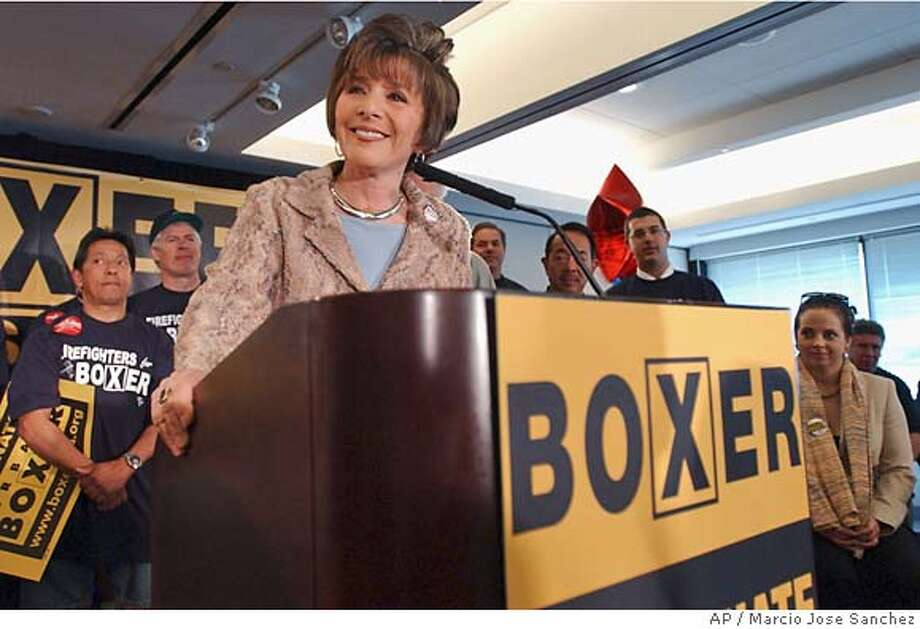 Sen. Barbara Boxer, D-Calif, addresses supporters during a kick-off event for her campaign in San Francisco on Tuesday, March 16, 2004. Boxer is seeking a third term and is running against Republican Bill Jones. (AP Photo/Marcio Jose Sanchez Sen. Barbara Boxer ProductName	Chronicle Photo: MARCIO JOSE SANCHEZ