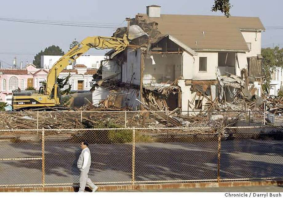 Parkside Elementary School, 82-years-old, in the Parkside district seen from 24th Avenue, is demolished as the San Francisco Unified School district goes ahead with its plans for a new school to be called: Diane Feinstein Elementary School and Professional Development Center.  Event on 6/16/04 in San Francisco.  Darryl Bush / The Chronicle Photo: Darryl Bush