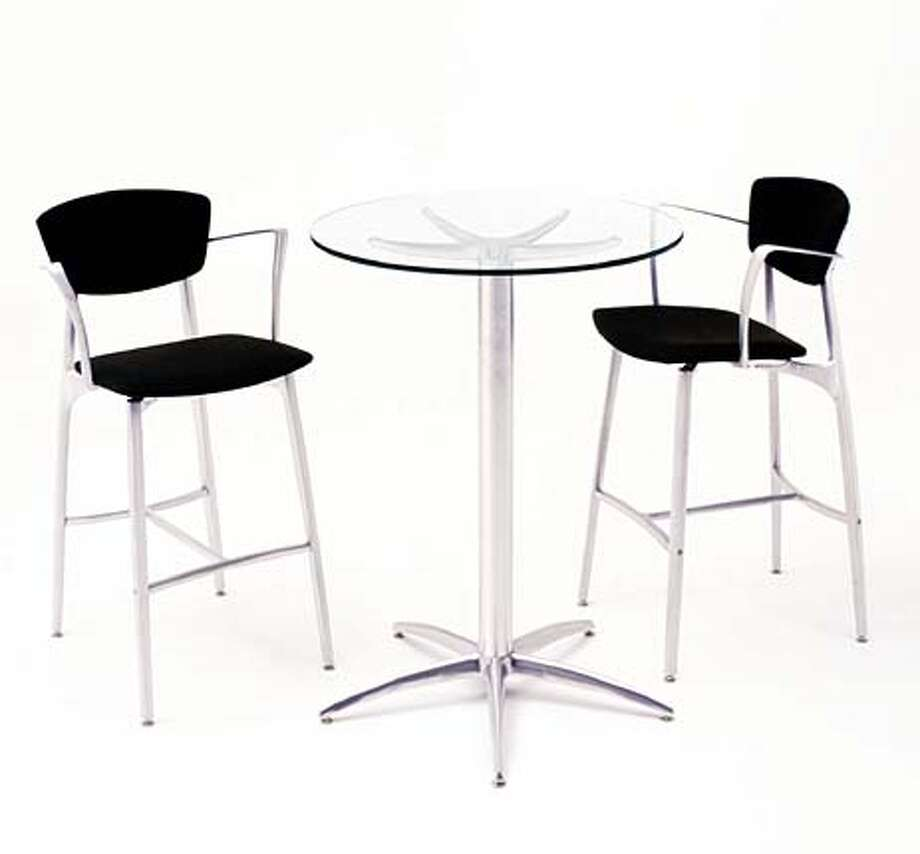 The aluminum pieces by Azcast Products are worthy of a contemporary designer's showroom (bistro table, $550, chairs $605).
