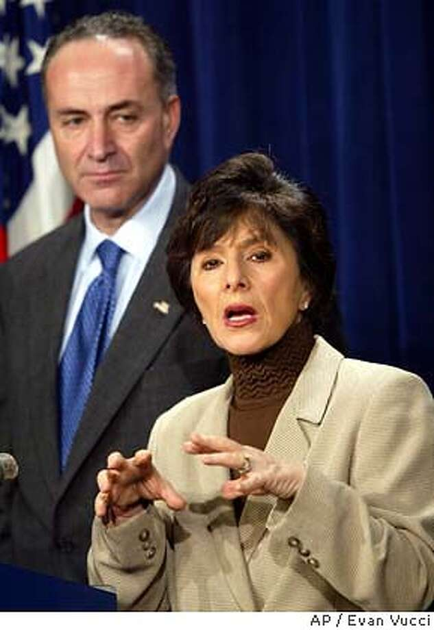 Sen. Charles Schumer, D-N.Y., left, looks on as Sen. Barbara Boxer, D-Calif., right, talks to reporters at a press conference after the energy bill was defeated on Friday, Nov. 21, 2003 in Washington. On a 57-40 vote, opponents of the massive energy bill blocked the Senate from taking a final vote and sending the measure to President Bush. (AP Photo/Evan Vucci) ALSO RAN: 12/12/03, 01/07/04; 1/10/2004 (3-Star); 1/23/2004 (3-Star)  Sens. Barbara Boxer, D-Calif., and Charles Schumer, D-N.Y. , oppose the bill. Energy Secretary Spencer Abraham says he won't give up on the bill. &quo;The game is still afoot.&quo; Energy Secretary Spencer Abraham says he won't give up on the bill. &quo;The game is still afoot.&quo; cat Sen. Barbara Boxer, said touch-screen systems must be checked on &quo;multiple levels&quo; before an election. Sen. Barbara Boxer, said touch-screen systems must be checked on &quo;multiple levels&quo; before an election. Nation#MainNews#Chronicle#12/12/2003#ALL#3star##0421497098 Susan Manheimer Susan Manheimer Sen. Barbara Boxer sponsored a bill to equip all domestic airliners with anti-missile devices. Bill Jones ProductName	Chronicle Nation#MainNews#Chronicle#12/15/2003#ALL#3star##0421497098 CAT Sen. Barbara Boxer said her proposal on mad cow testing would help reopen markets to U.S. exports. Nation#MainNews#Chronicle#1/10/2004#ALL#3star##0421497098 Sen. Charles Schumer, D-N.Y., wants an update in the leak of the name of a CIA undercover officer. Sen. Barbara Boxer expressed doubts about same-sex marriage. Nation#MainNews#Chronicle#1/23/2004#ALL#3star##0421497098 Op-Ed#Op-Ed#Chronicle#3/19/2004#ALL#5star##0421497098 Metro#Metro#Chronicle#5/10/2004#ALL#5star#B8#0421497098 Photo: EVAN VUCCI