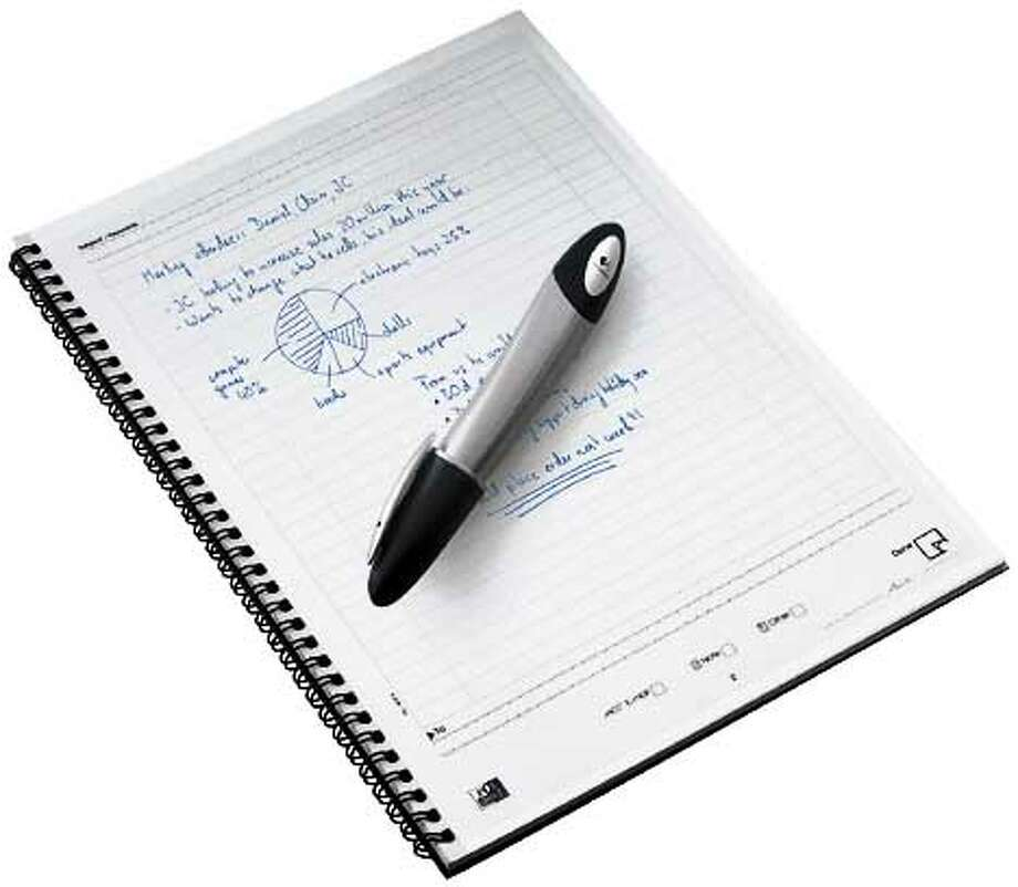 The Io digital pen comes with a notebook of special paper  that the pen uses to track your movements