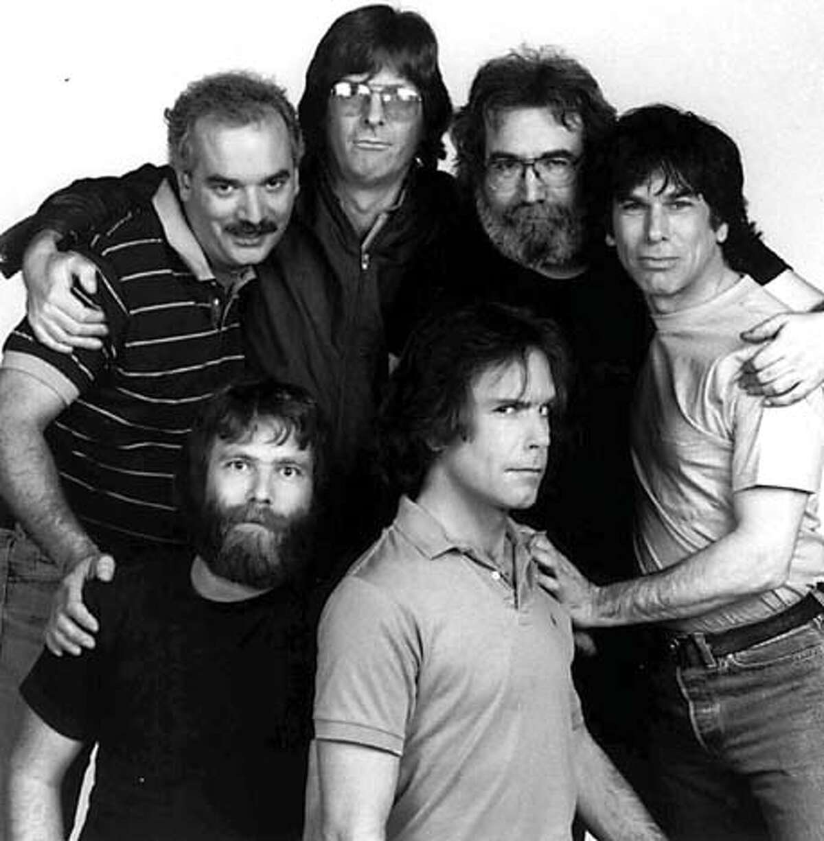 The Grateful Dead in 1985 (clockwise from top left): Billy Kreutzmann, Phil Lesh, Jerry Garcia, Mickey Hart, Bob Weir and Brent Mydland. Kreutzmann, Lesh, Hart and Weir are together again. Associated Press File Photo