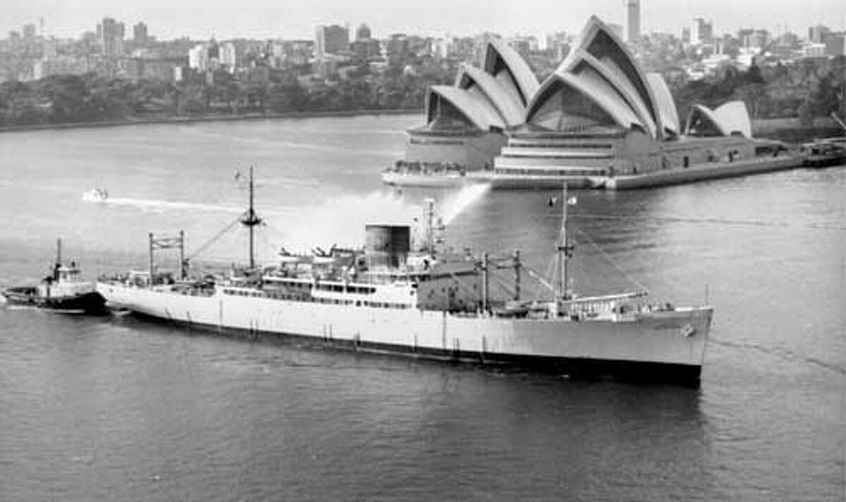 Ex-Crescent City in service as The California Maritime Academy training ship TS Golden Bear II entering Sydney Harbour, Australia, circa 1971 to 1995. PHOTO COURTESY: CMA Historical Archives.