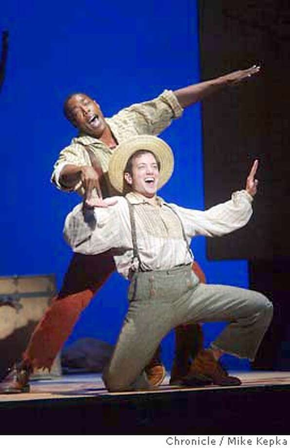 "Michael McElroy and Jim and Tyrone Giordano as Huckleberry Finn in a preview performance of ""Big River"" at the Curran theater in San Francisco.6/11/04 in San Francisco. Mike Kepka / The Chronicle Photo: Mike Kepka"