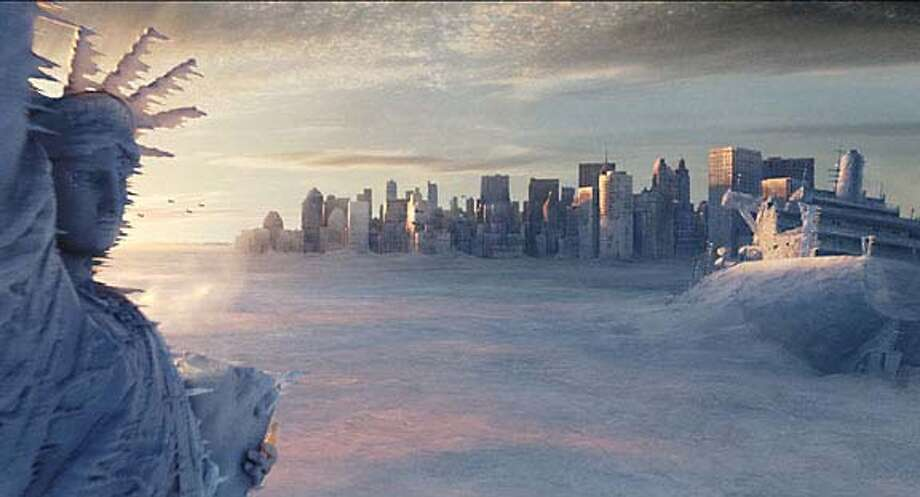 """** ADVANCE FOR Thursday, MAY 27 **The Statue of Liberty, left, and the New York city skyline sit in a deep freeze in the wake of a catastrophic climatic shift in a scene from Twentieth Century Fox's """"The Day After Tomorrow,"""" in this undated promotional photo. (AP Photo/Twentieth Century Fox) ProductNameChronicle ProductNameChronicle Fearsome tornados -- all done with surprisingly realistic computer-generated images -- tear through Hollywood. ProductNameArticle_Nameskybox28_datebook.ART ProductNameArticle_Nameskybox28_datebook.ART Fearsome tornados -- all done with surprisingly realistic computer-generated images -- tear through Hollywood. A deep freeze grips the Statue of Liberty and the Manhattan skyline in &quo;The Day After Tomorrow.'' Ran on: 06-13-2004  Charlie Chaplin: one monster of a comedian."""