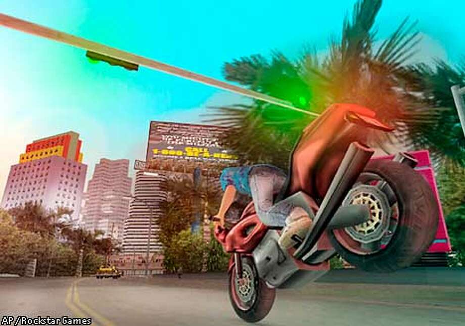 "** ADVANCE FOR THURSDAY NOV. 14 ** This computer generated animation still shows a scene from the video game ""Grand Theft Auto: Vice City."" As video gamers have matured, game content has grown up, too _ and it seems to be supporting itself on a life of crime. The upcoming holiday season has brought digital mayhem to stores as a mob of combative, adult-themed titles led by ""Grand Theft Auto: Vice City"" and ""Hitman 2"" and ""BMX XXX"" target older gamers. (AP Photo/Rockstar Games)"
