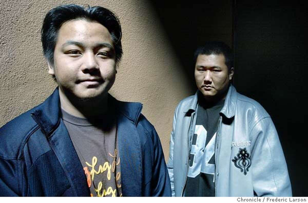 ; Sang Saephan, 19 (left), and Van Hsai Nompraseurt, 19 of Richmond, who joined SOD at age 15, but decided to leave two years later after being locked up in a youth detention facility. �When they got here they didn�t know America was going to be crazy.� They wear baggy pants, listen to gangsta rap, speak the urban language of hip-hop and fight in rival street gangs sporting red and blue colors. The faces are these Southeast Asian teens in East Bay neighborhoods from San Pablo and Richmond to Emeryville and Oakland, youths whose families fled their war torn homeland are struggling to find their identity. In West Contra Costa two rival gangs formed along ancient ethnic fault lines have also grown to include African American and Latino members. 5/3/04 San Francisco Chronicle Frederic Larson