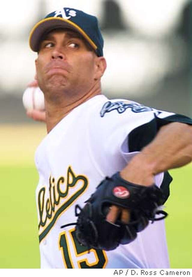 Oakland Athletics' Tim Hudson pitches against the Pittsburgh Pirates during the first inning Friday, June 11, 2004, in Oakland, Calif. (AP Photo/D. Ross Cameron) Photo: D. ROSS CAMERON