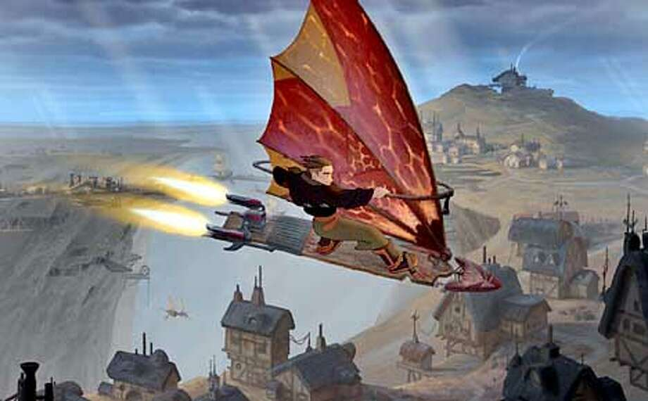 "Fifteen-year-old Jim Hawkins(pictured) escapes from his daily routine by soaring through the skies on his solar surfer in this scene from Walt Disney Pictures exciting new animated adventure, Treasure Planet."" (AP Photo/Walt Disney Pictures)  HANDOUT PHOTO Photo: HANDOUT"