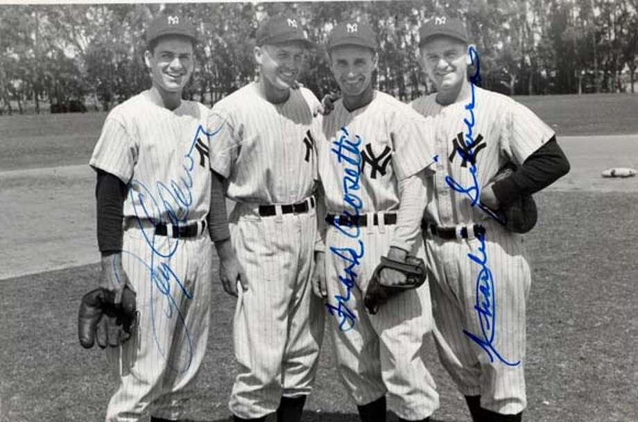 FROM LEFT: JERRY COLEMAN, BOBBY BROWN, FRANKIE CROSETTI, CHARLIE SILVERA