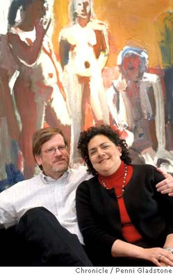 DONOR_009_pg.jpg  In their office, with a painting from the Anderson Collection, andy and deborah rappaport, the Bay Area's most political influentual couple. they gave more than $1.5 million to political groups, ranking them among the top 10 donors nationwide.  Event on 5/11/04 in menlo park .  Penni Gladstone/ The Chronicle Ran on: 06-11-2004  Andy and Deborah Rappaport relax in their Menlo Park office, which features a painting from the Anderson Collection. The Rappaports are among the nation's most generous political donors.