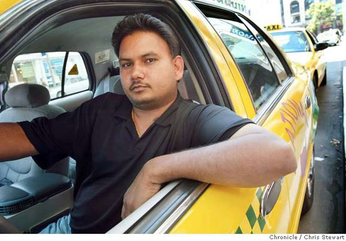 Event on 6/4/04 in San Francisco. Hardeep Singh (cq), 23, a driver with National Cab in San Francisco, has been hard hit by the rising cost of gasoline. Working a12-hour shift, he may average $40 in take-home fares. CHRIS STEWART / The Chronicle