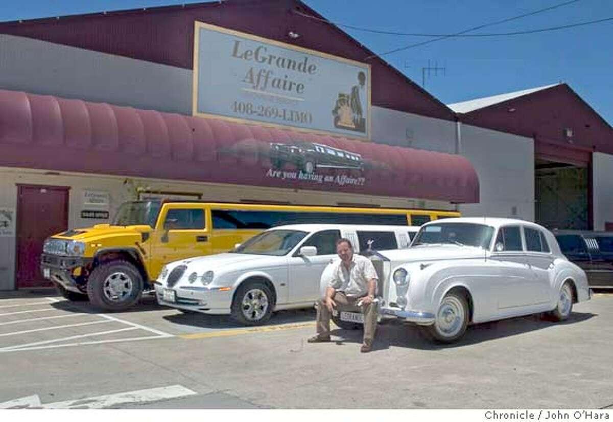 Le Grande Affair Limousine Service,2590 Lafayette st. Santa Clara, CA CEO Phil Restivo with some of his Limousines photo/John O'hara