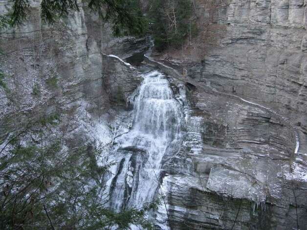 Lucifer Falls at Robert H. Treman State Park as seen from the top of the Cliff Staircase. (Herb Terns/Times Union)