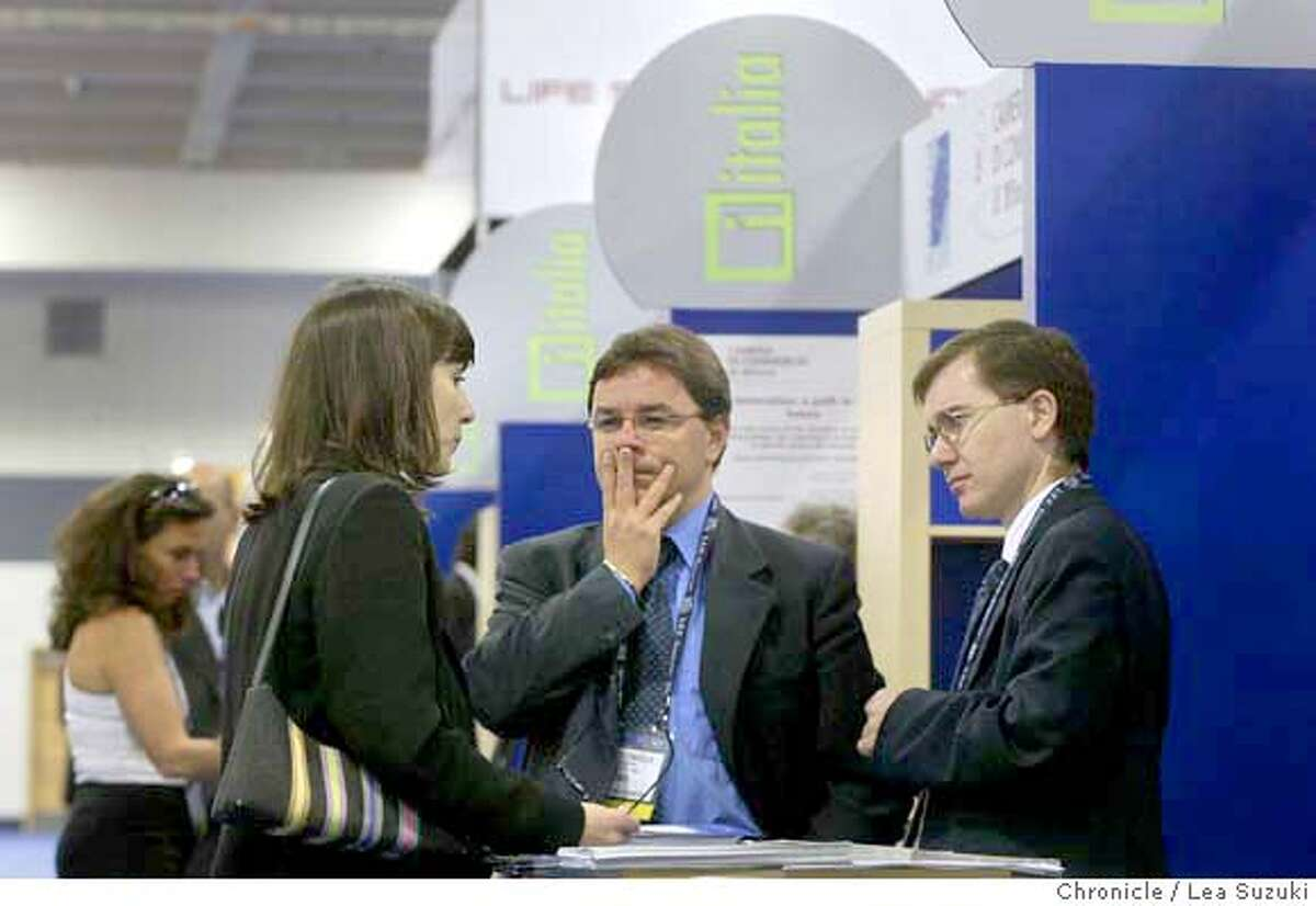From left: Barbara Bagnasacco of Salt Lake City, UT; Fabrizio Conicella, Project Manager of Bioindustry Park Canavese; and Dr. Davide Ederle, Technology Transfer of Parco Tecnologico Padano, talk in the Italia