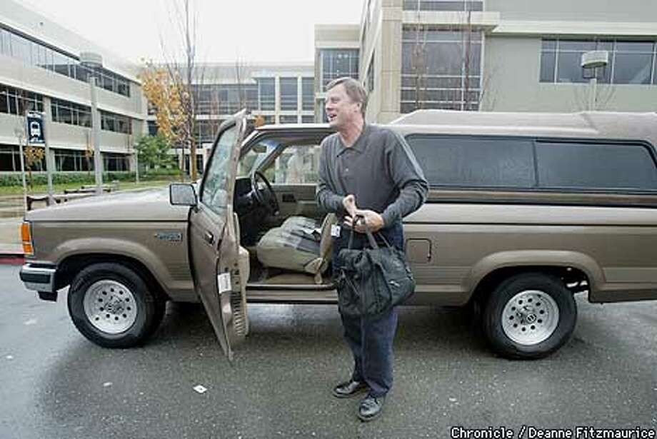 Duane Zitzner, head of Hewlett-Packard's PC business drives a modest Ford Ranger. Hewlett-Packard offices in Cupertino.  CHRONICLE PHOTO BY DEANNE FITZMAURICE Photo: DEANNE FITZMAURICE