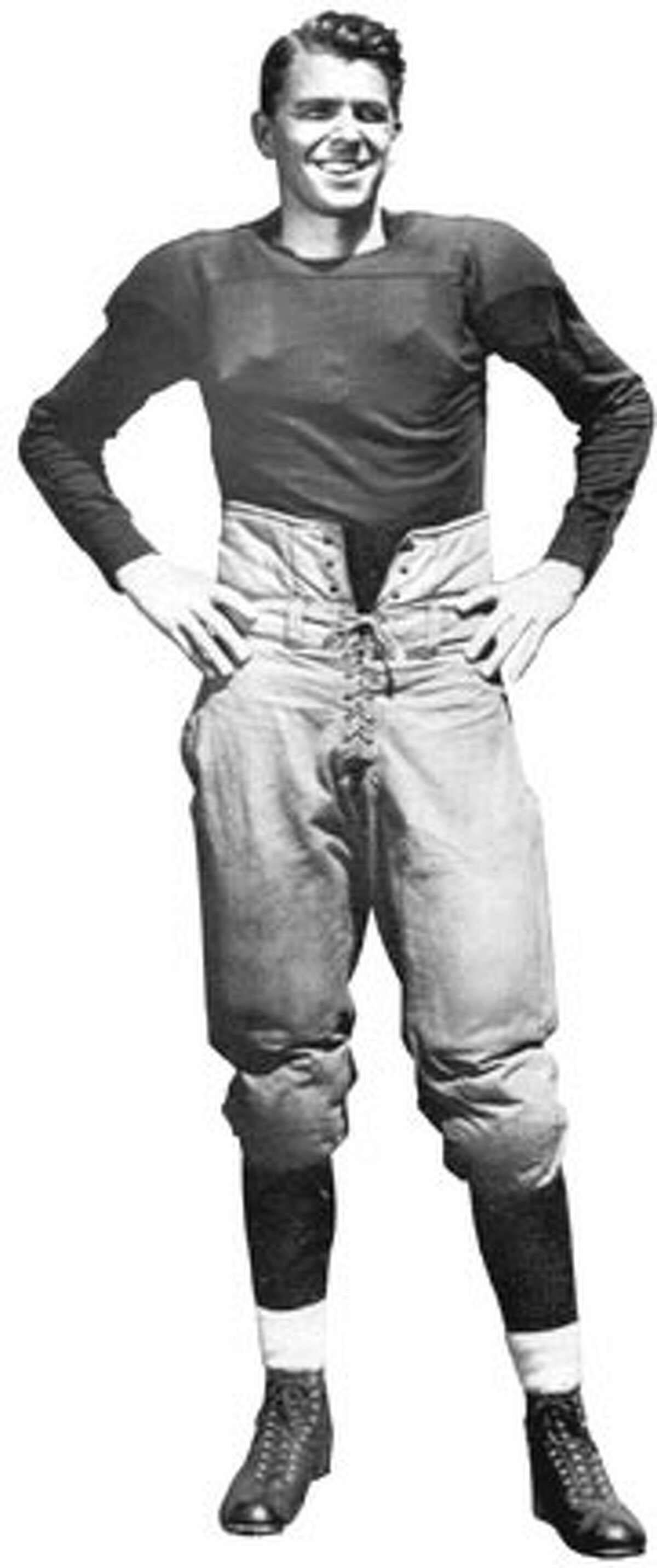 The future president posed in his football uniform at Eureka College in Illinois.