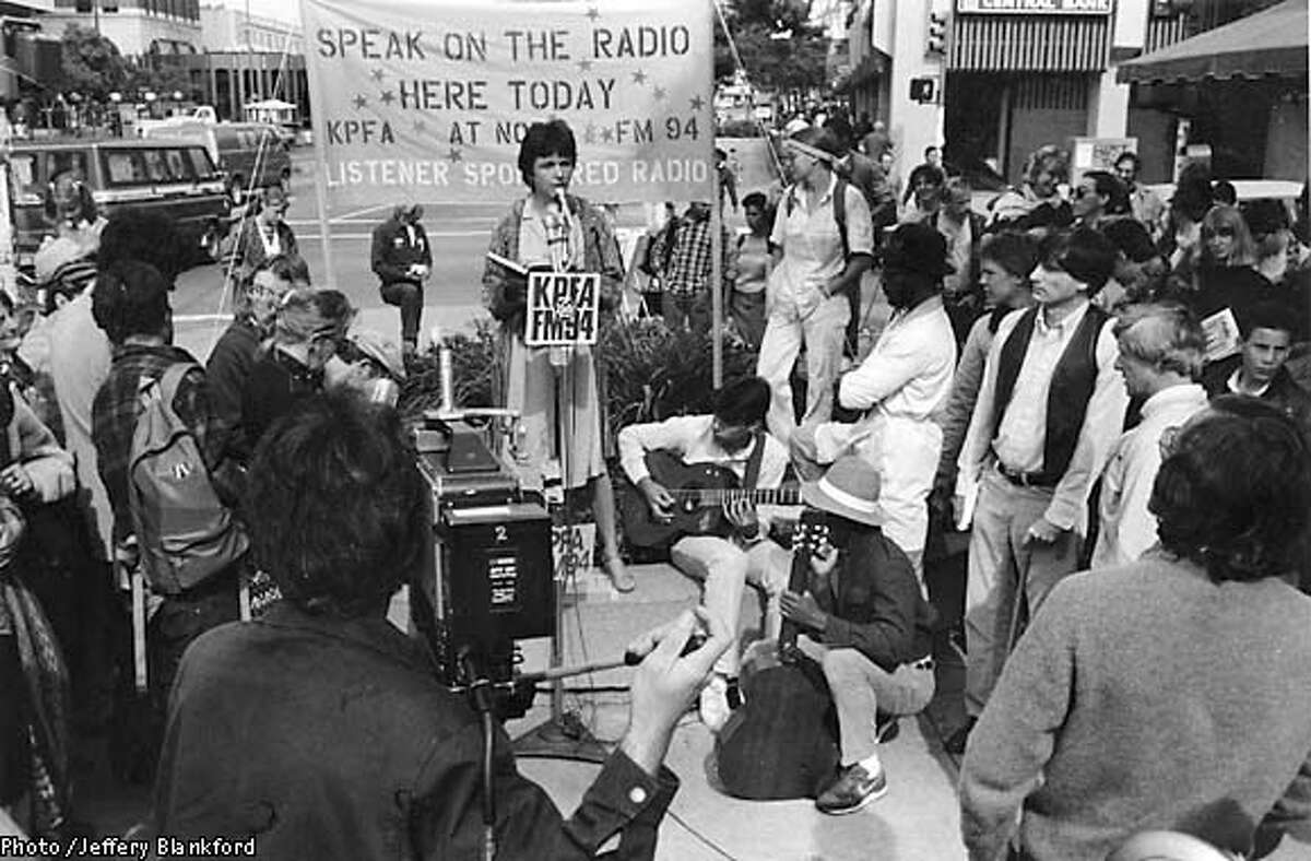 KPFA celebrated the 20 th Anniversary Free Speech Movement in Berkeley by providing live broadcasts from the sidewalks outside it's studios. People lined up hours in advance to speak and it was widely covered by local television and other media. (1984) Photo credit: Jeffery Blankford/Pacifica Radio Archives Collection. HANDOUT.
