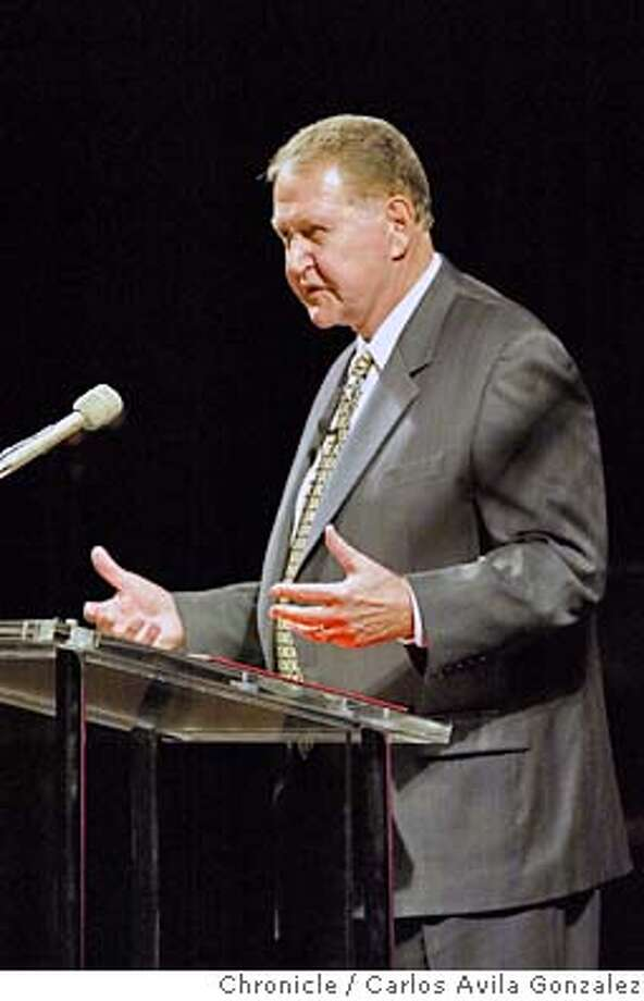 Paul Risser offers up a mea culpa speech before a crowd of thousands at the International Church of the Foursquare Gospel's Annual Convention at the San Francsico Hilton in San Francisco, Ca., on Tuesday, June 1, 2004. Risser stepped down as president of the church after a bad investment cost the church a lot of money.  Photo taken on 06/01/04 in San Francisco, Ca. Photo By Carlos Avila Gonzalez / The San Francisco Chronicle Photo: Carlos Avila Gonzalez