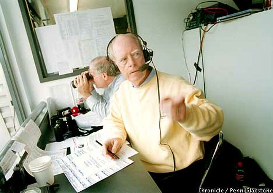 Joe Starkey  owns the rights to his famous call, and is still stamping Cal games with his distinctive voice. Chronicle file photo by Penni Gladstone
