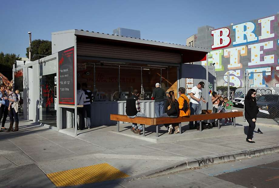 The Proxy project is a set of shipping containers repurposed to hold a coffee bar, ice cream store, and beer garden in Hayes Valley in San Francisco, Calif., Thursday, November 10, 2011. Photo: Sarah Rice, Special To The Chronicle