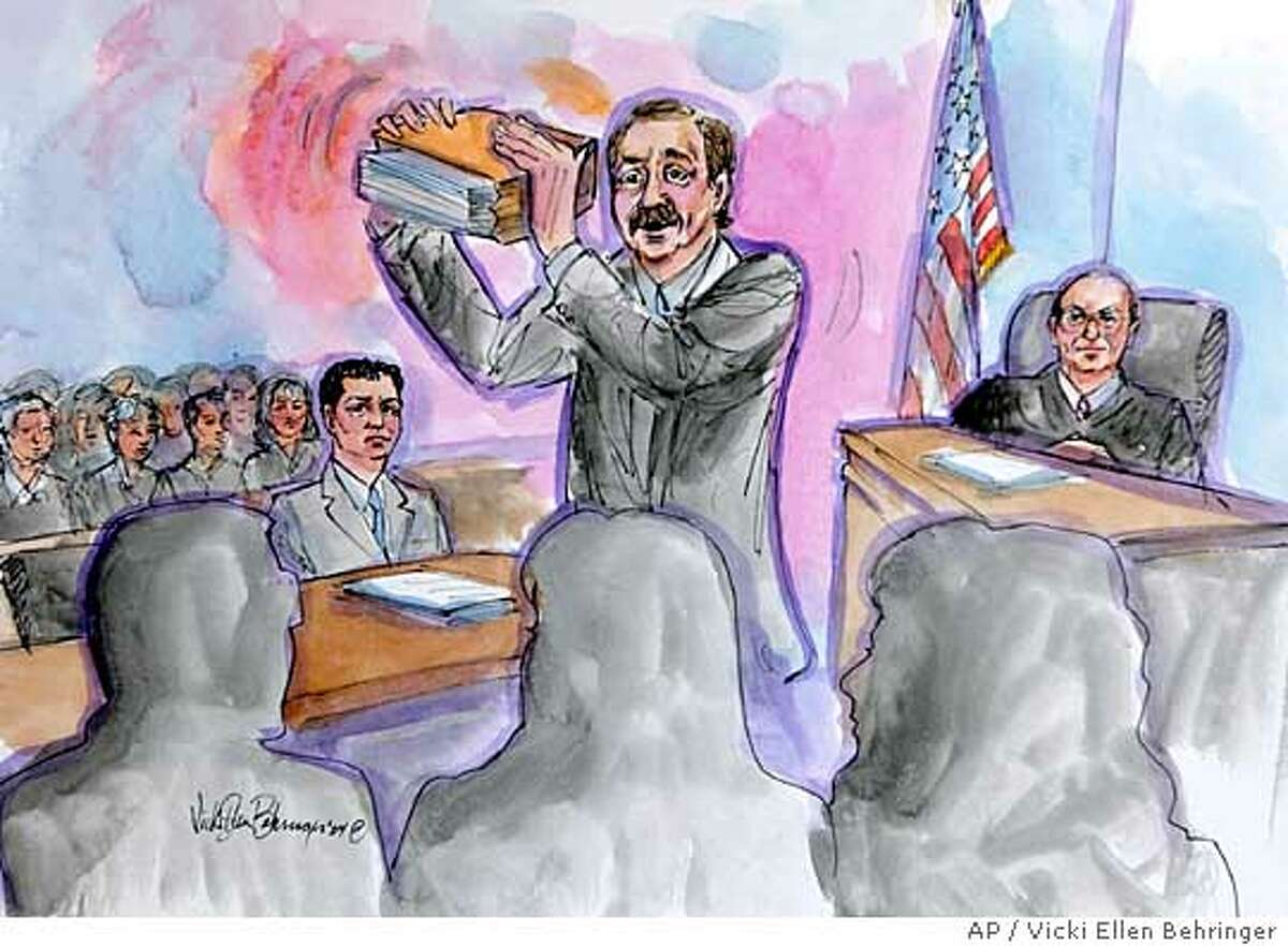 A courtroom drawing of defense attorney Mark Geragos, center, slamming evidence on the table in front of jurors, foreground, as Scott Peterson, left, and judge Alfred Delucchi, right, watches during opening arguments in Redwood City, Calif., courtroom Wednesday, June 2, 2004. Peterson is the Modesto, Calif., man who could face the death penalty if convicted of two counts of murder for the deaths of his wife, Laci Peterson, and their unborn son. (AP Photo/ Vicki Ellen Behringer)