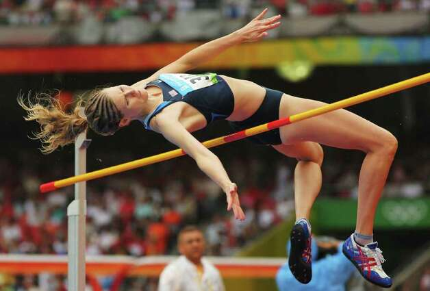 BEIJING - AUGUST 21:  Amy Acuff of the United States competes in the Women's High Jump Qualifying Round held at the National Stadium during Day 13 of the Beijing 2008 Olympic Games on August 21, 2008 in Beijing, China. Photo: Stu Forster, Getty Images / 2008 Getty Images