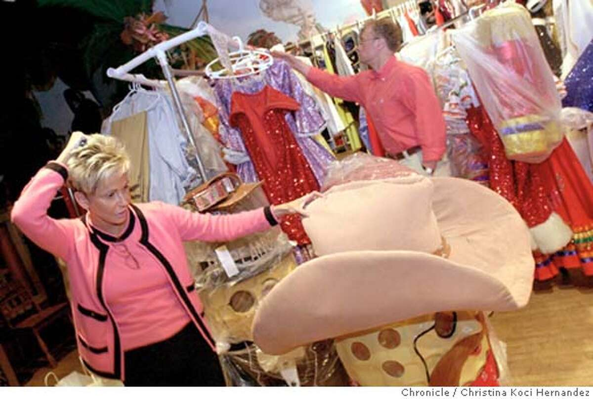 CHRISTINA KOCI HERNANDEZ/CHRONICLE (L) Schuman looks at Mr. Peanut in the costume dept., with Kenny Mazlow, director/choreographer, in back.Profile on Jo Schuman Silver, owner of Beach Blanket Babylon, in connection with the show's 30th anniversary in San Francisco. We stop in for the afternoon at a rehearsal of their 30th anniversary show, specially formulated to take in everything that has happened over the years. BBB is a musical revue. The story is about the person who makes all the changes to the script, and puts the up-to-the-minute social,cultural and news references into the show.