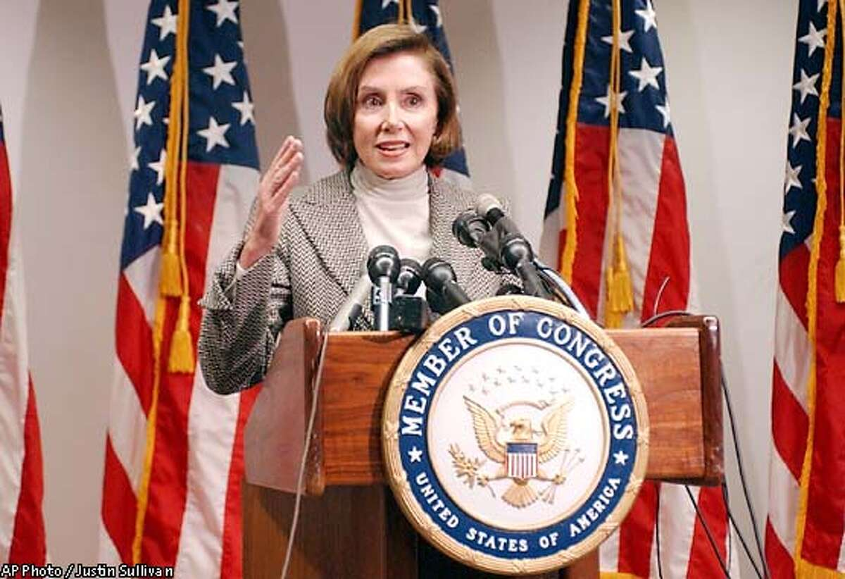 U.S. Rep. Nancy Pelosi, D-Calif., speaks at a news conference in San Francisco Friday, Nov. 8, 2002. Pelosi secured victory in the race for House on Friday when her only formal rival conceded defeat and offered an endorsement. Pelosi will become the first woman to lead either party in either House of Congress when she is formally elected next week to replace U.S. Rep. Richard Gephardt. (AP Photo/Justin Sullivan)