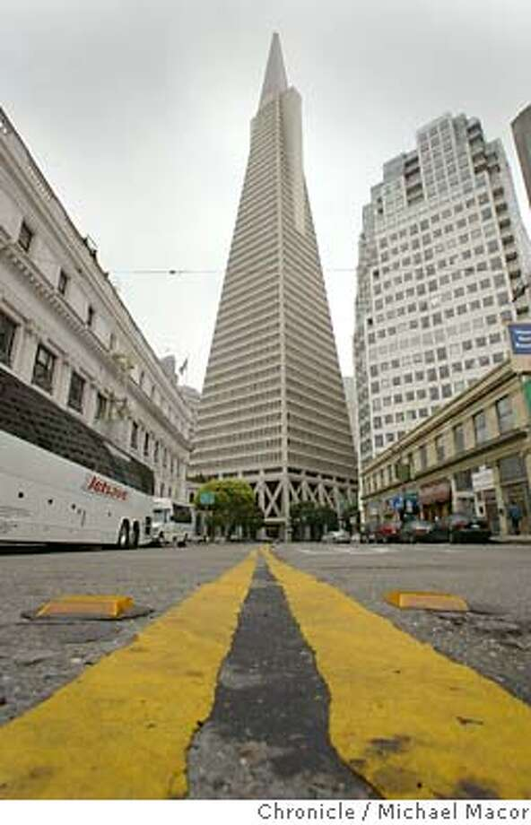 A view from the middle of Columbus St. The Transamerica Pyramid, a San Francisco icon. event on 5/26/04 in San Francisco Michael Macor / San Francisco Chronicle Photo: Michael Macor