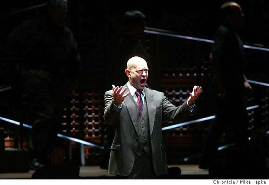 Tom Fox as Don Pizarro-San Francsico Symphony's Beethoven fest hosts a semi-staged performance of Fidelio.  5/27/04 in San Francisco. Mike Kepka / The Chronicle Photo: Mike Kepka