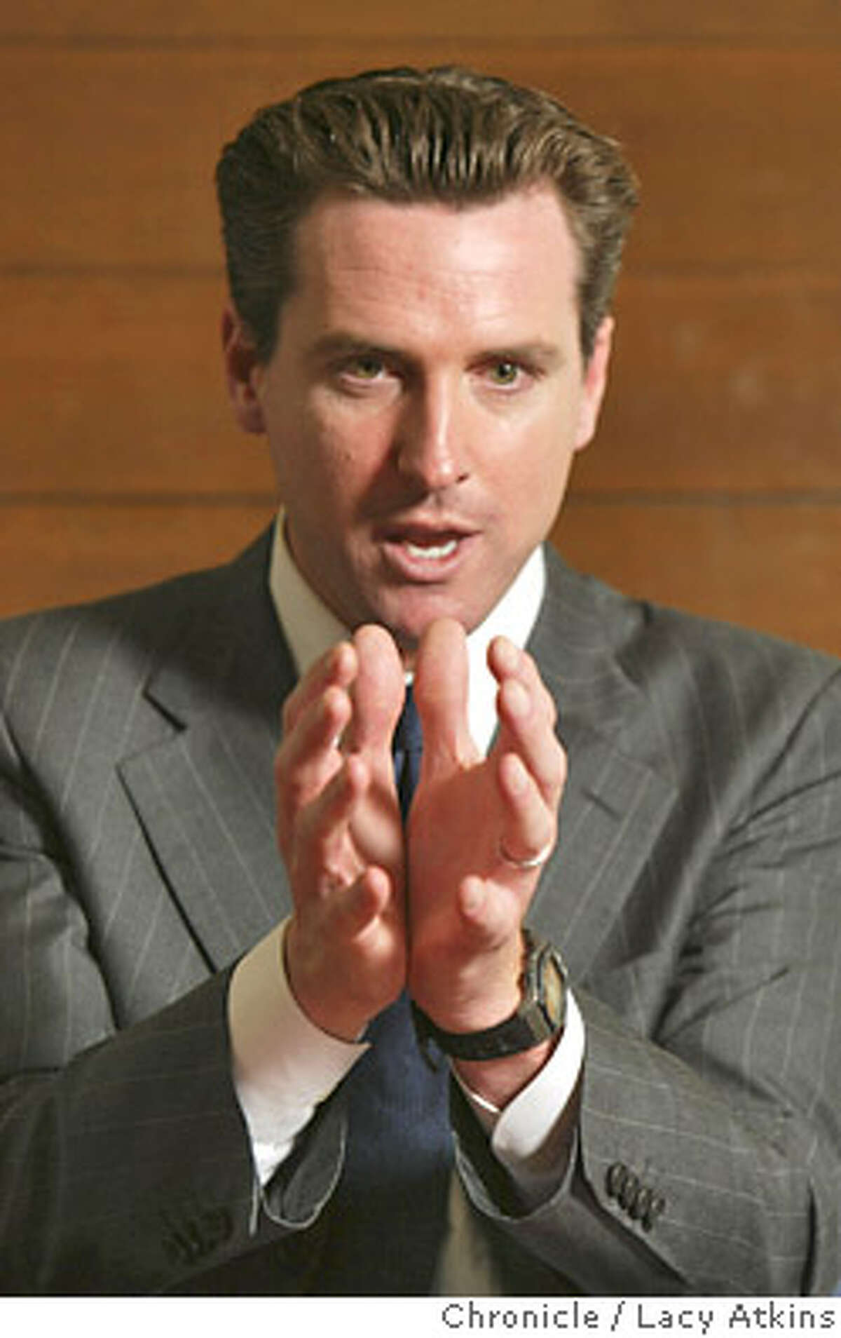 San Francisco Mayor Gavin Newsom talks about the new budget, May 27, 2004, in San Francisco. Chronicle photo by Lacy Atkins