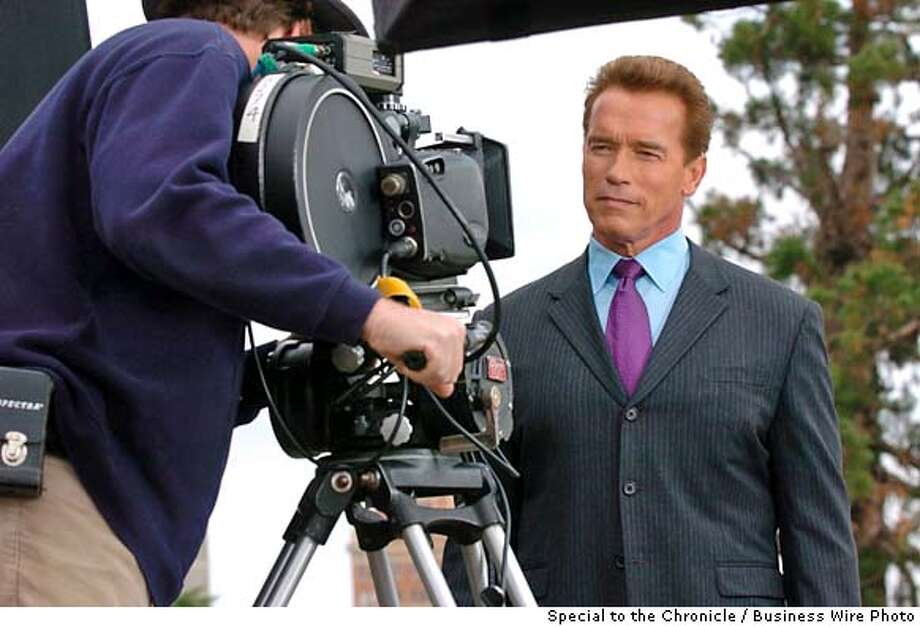 "Gov. Arnold Schwarzenegger returns to the screen, starring in a ""California Grown"" TV commercial where he encourages state residents to ""Be Californian, Buy California Grown."" Recently filmed in Sacramento, the new commercial is set to debut statewide today. (Business Wire photo) Photo: Steve Yeater"